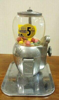 RARE Vintage 1940's Atlas Bantam Peanut Gumball Vending Machine 5 Cents W/ KEY!