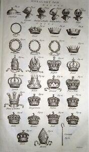 1783-PRINT-HERALDRY-HELMETS-CROWNS-MITRE-CROISER-PLUME-OF-FEATHERS-KING-NAVAL