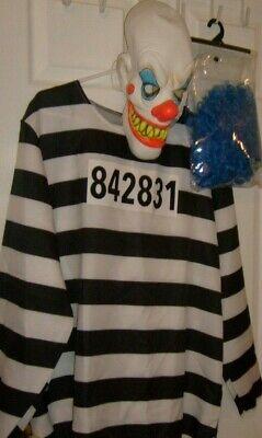 Psycho Killer Halloween Costumes (Escaped PRISON PSYCHO  CLOWN KILLER COSTUME  MASK & WIG HALLOWEEN NEW ONE SZ)