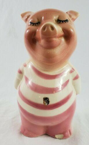 VINTAGE 1950s Standing Pig Pink Striped Shirt Ceramic Porcelain Piggy Bank Coin