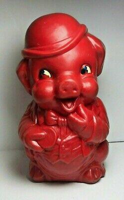 Vintage Plastic Red Big Eye Pig  Carnival Prize 10