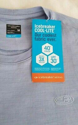 MEN'S ICEBREAKER Cool Lite Sphere SS MERINO T SHIRT in Brook Blue Medium RRP £60