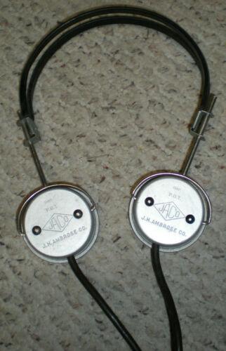 Vintage JH Ambrose JACO ham crystal military radio heatset headphones
