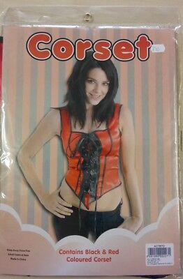 Red & Black Corset Style Top Halloween Burlesque Fancy Dress Costume 10-14 - Corset Style Halloween Costumes