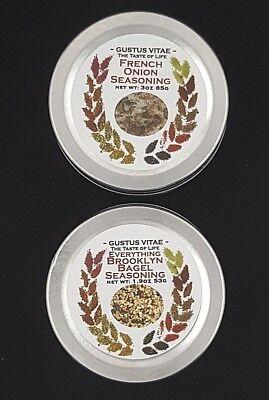 Seasoning ~ Gustus Vitae French Onion (3oz) & Everything Brooklyn Bagel (1.9oz)