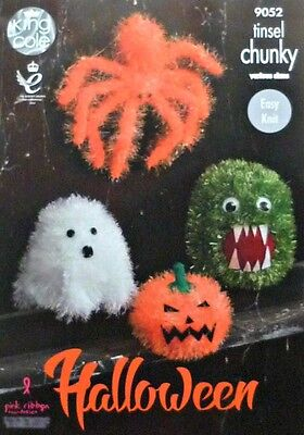 KNITTING PATTERN Easy Knit Halloween Spider Ghost Monster Pumpkin Chunky 9052