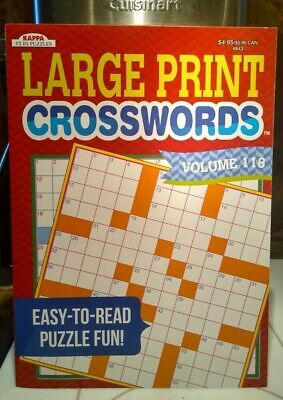 "NEW Large Print Crossword Puzzle Books Lot Of 2 Paperback 11"" x 8"" Kappa"