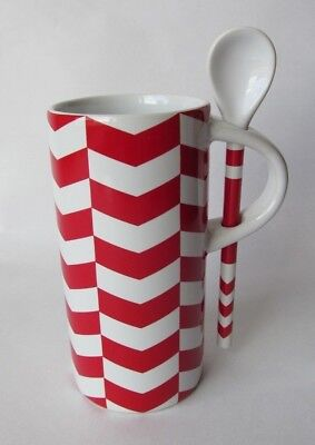 Starbucks 8oz Christmas Mug Coffee Tea Cup & Spoon Red And White (Tall & Narrow)