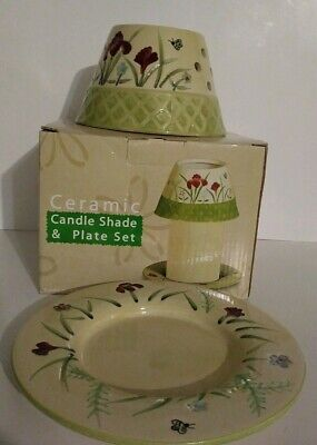 A. C. MOORE Ceramic Candle Shade & Plate set - Ac Moore Candles