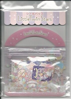 Sanrio Little Twin Stars Sack of Stickers With Pouch With  Die Cut Stickers