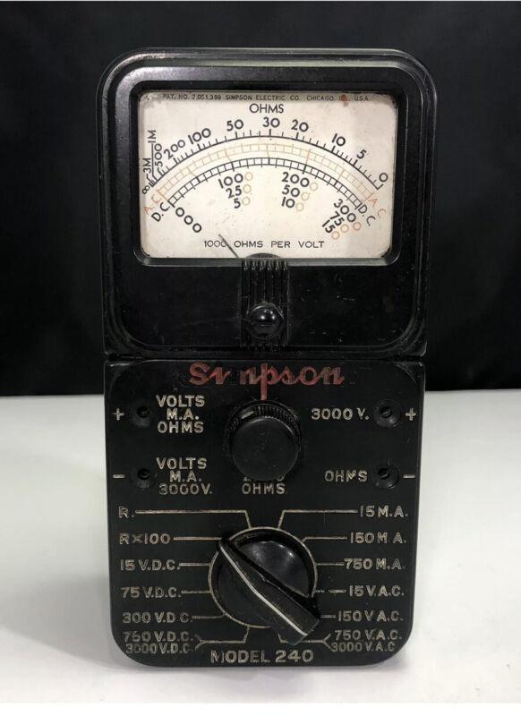 Vintage Simpson Model 240 Hammeter,Volt, OHM Meter Multimeter