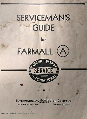 Farmall A International Harvester Tractor Shop Repair Service Manual Ih Farm