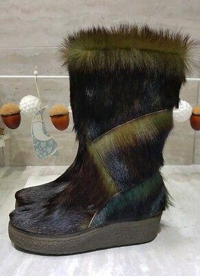 NEU Rare Yeti Fell Stiefel Grüntöne 40,5 Pelz Fur Goat Boots After Ski Vintage