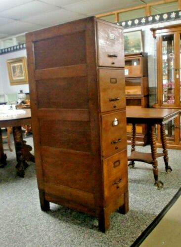 Oak 4 Drawer File Cabinet Weis with Base Panel Sides and Back Monroe, Michigan