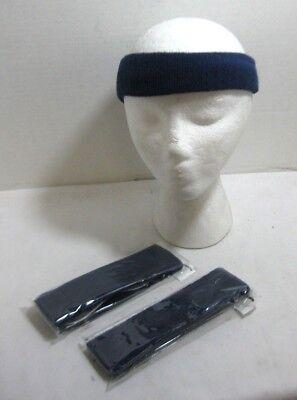 Blue Terry Cloth Headband Lot of 3 Sweatband Yoga Running Tennis One Size (Blue Terry Cloth Headband)