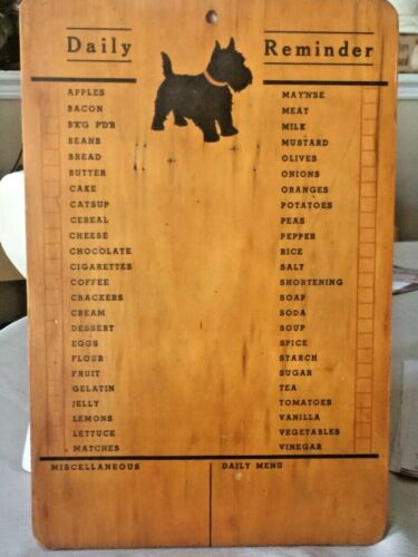 VINTAGE OLD Wood Shopping Grocery List Kitchen Old Sign Wall Plaque SCOTTY DOG