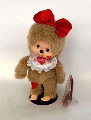 "SEKIGUCHI Monchhichi Plush Stuffed Doll Girl 8"" Red Hearts Bow Bib"