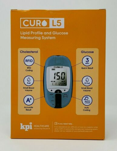 Curo L5 Lipid Profile & Glucose Measuring System - Blood Cholesterol Test Kit