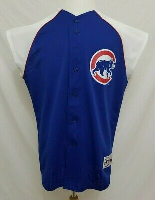 Chicago Cubs Sleeveless Majestic Jersey Mens L Blue White MLB Button Down USA Button Down Sleeveless Jersey