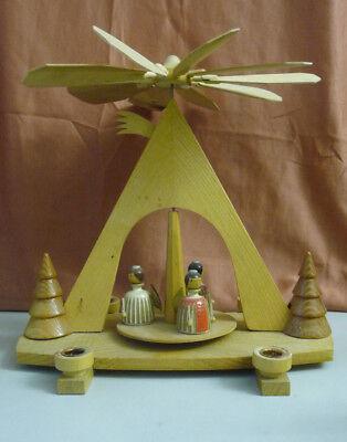 Small Christmas Pyramid with Three Angel Figurines/Folk Art Erzgebirge