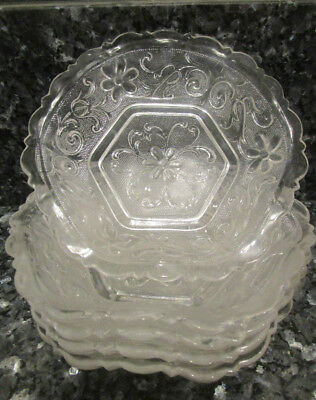 """Lot of 5 Crystal 6 1/4"""" Finger/ Fruit/Dessert Bowls with Flowers Daisy ruffled"""