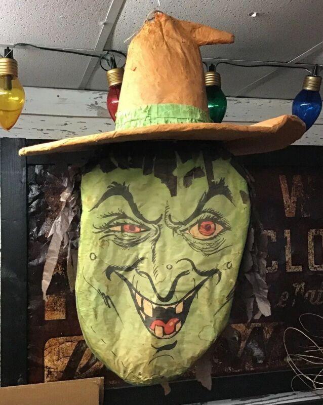 Rare Vintage Paper Mache Witch Head Halloween Decoration Large
