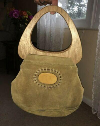 Vintage Tan Suede hippie wood handle purse