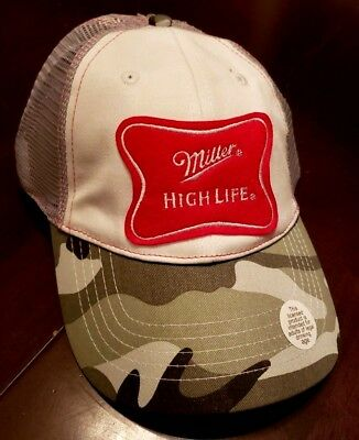 8df234a0600f5 Miller HIGH LIFE Baseball Ball Cap Hat - Camo mesh retro style beer NEW w