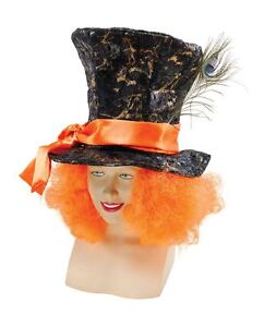 MAD-HATTER-TOP-HAT-WITH-ORANGE-WIG-HAIR-FANCY-DRESS-TEA-PARTY-COSTUME-ACCESSORY