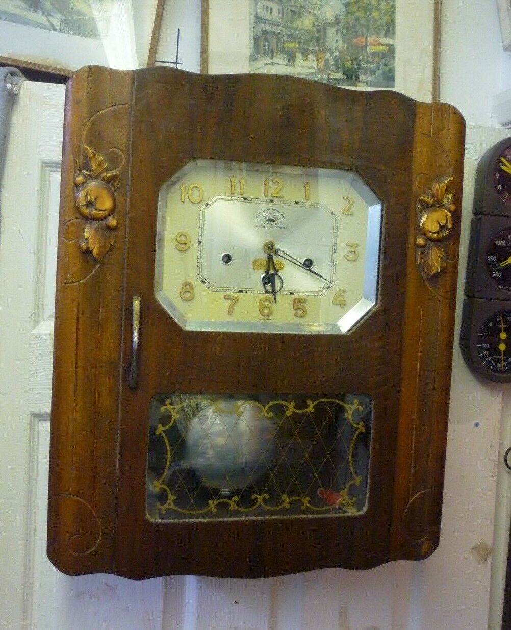 Original Art Deco Morbier Westminster Chime Wall Clock Full Working Order