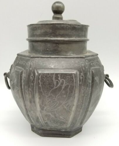 """Chinese Antique Tea Caddy Pewter CHANGSHA CHINA w/ Dragon Signed 9x7"""""""