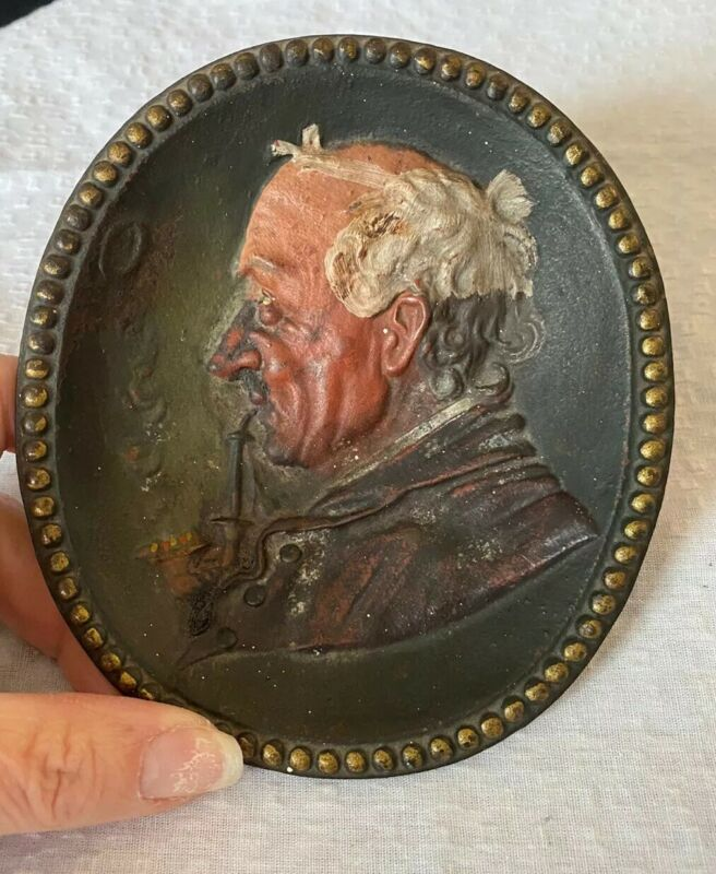 Antique B&H Bradley &  Hubbard USA Cast Iron Ashtray Man Smoking Pipe