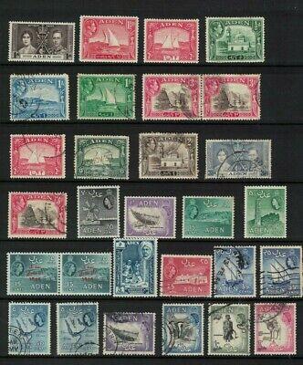 aden stamps - george vi / elizabeth ii - dow inc - good used/mint NH range