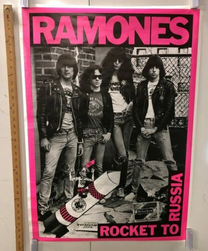 """VINTAGE MUSIC POSTER The Ramones """"Rocket To Russia"""" Classic Punk Rock East Coast"""