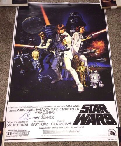 DIRECTOR GEORGE LUCAS SIGNED STAR WARS A NEW HOPE F/S FULL SIZE POSTER w/COA