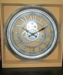 Industrial Look Wall Clock Roman Numerals Exposed NEW in Box 12 Diameter Silver