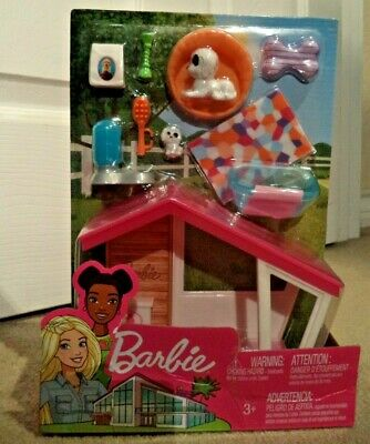 BARBIE FURNITURE DOG HOUSE & MOMMY DOG W/ PUPPY ACCESSORIES *NEW*
