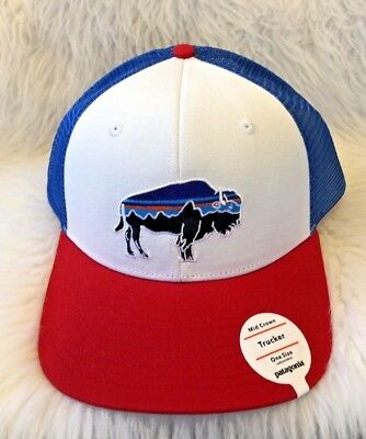 Patagonia Fitz Roy Bison Trucker Hat New With Tags - Red white Blue 25ca63489c99