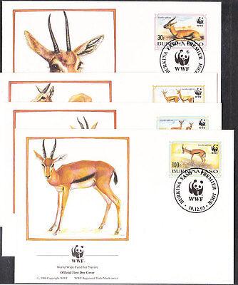 V1837 BURKINA FASO WWF 1993 GAZELLEN MINR 1298 1301 AUF 4 FDC