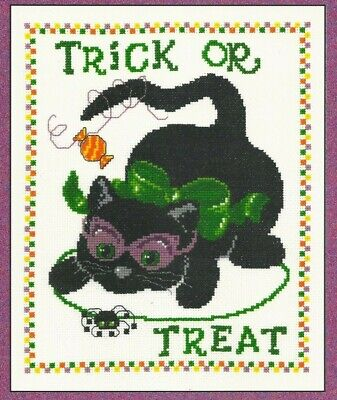 TRICKY KITTY--Halloween--Spider--Trick or Treat-Cat-Counted Cross Stitch Pattern - Tricky Treat Halloween