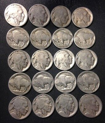 Vintage United States Coin Lot   Buffalo Nickels   1910S 1930S   Free Shipping