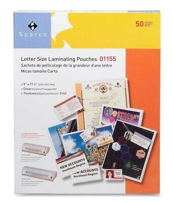 Letter Size Laminating Pouches 9 X 11-12 Inches 3 Mil 100 Pk Clear