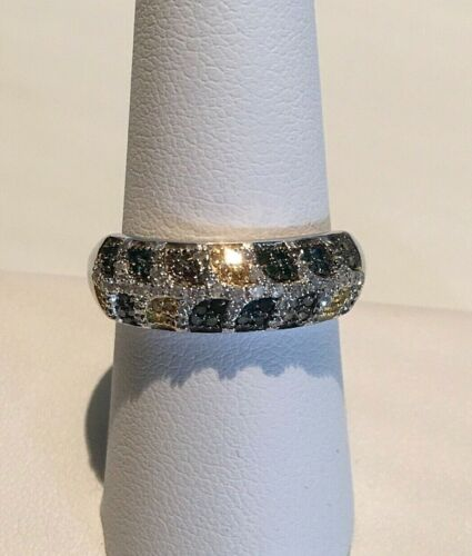 NWT FANCY COLORED YELLOW, GREEN, CHAMPAGNE & BLUE DIAMOND RING SIZE 7 (0.50 CTW)