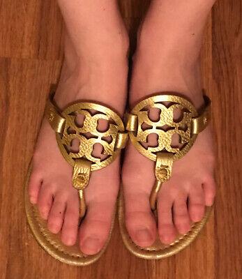 tory burch miller sandals 8 Gold