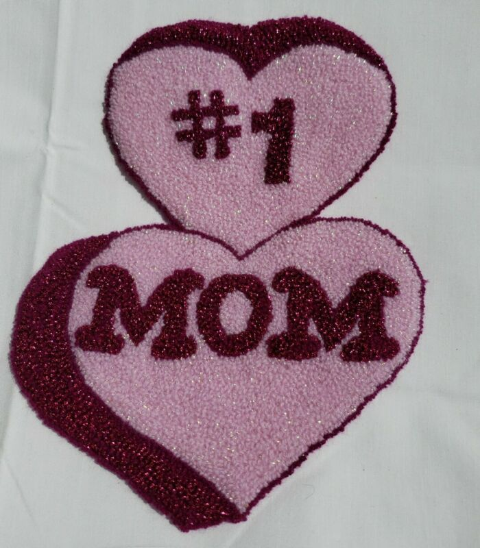Vintage Punch Needle Embroidery #1 Mom Hearts Pink Applique Patch Craft EUC