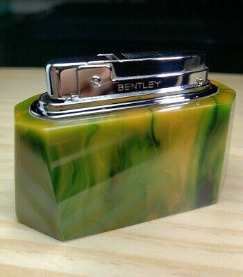 Vintage Original Bentley Marbled Green Catalin Bakelite Chrome Table Lighter