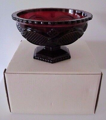Vintage Avon 1876 Cape Cod Ruby Red Pedestal Candy Bowl, Dish with Original Box