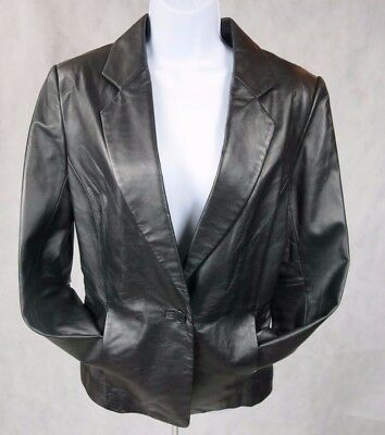 Jaclyn Smith Womens Leather Classic Blazer Sz M Black Fully Lined Work or Play