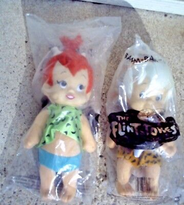 1994 Pebbles and Bam Bam Plush Dolls From The Flintstones HB FACTORY SEALED htf