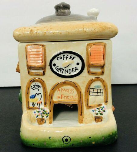 LEFTON 2004 Coffee Grinder People Treater Ceramic Cookie Jar Hand Painted